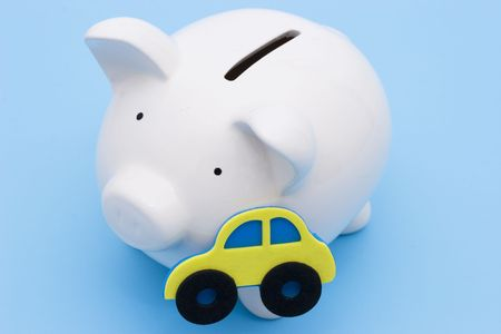 loaning: A piggy bank for the saving or loan for a car Stock Photo