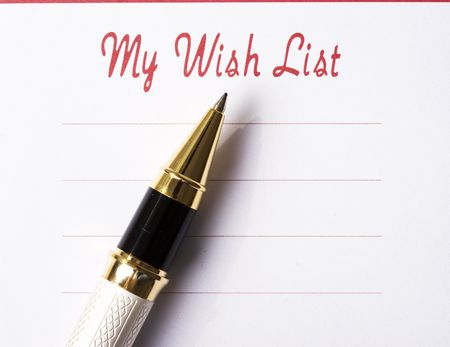 Wish list with pen photo