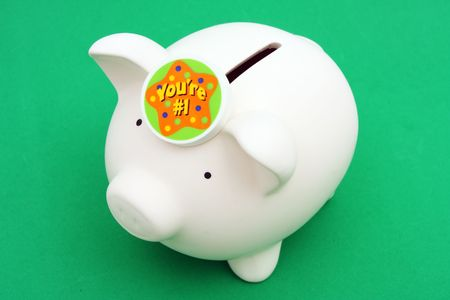 Pig coin bank with number 1 Stock Photo - 1828214