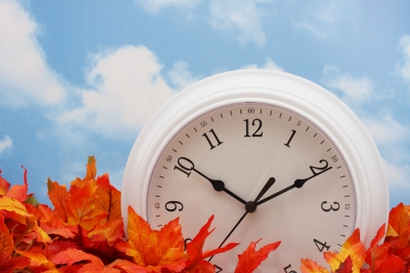 fall time: white clock on fall leaves, sky background