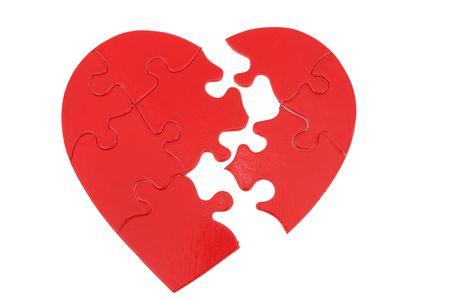 heartbreak: Heart puzzle with missing pieces white background - heartbreak