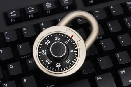 Combination lock on keyboard Stock Photo - 1859605