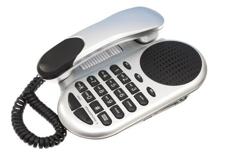 voicemail: Grey and Black Telephone on a isolated white background