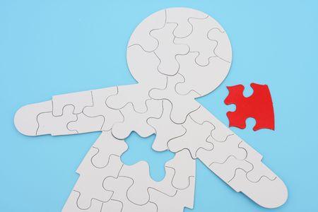 puzzelen: Menselijk lichaam vorm puzzel met stuk verwijderd