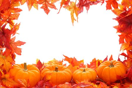 Fall leaf border with pumpkins isolated on a white background Stock Photo