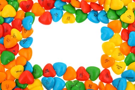 Candy hearts making a border with copy space for your message