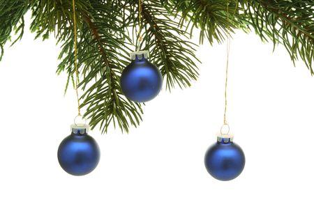 Christmas balls hanging from Christmas tree