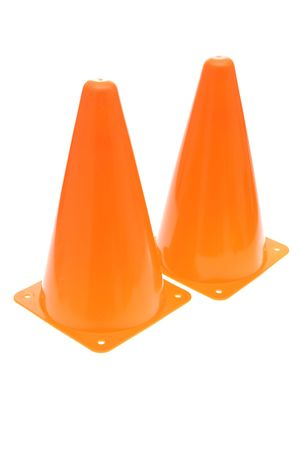 Two orange safety cones isolated on white background Stock Photo - 1907754