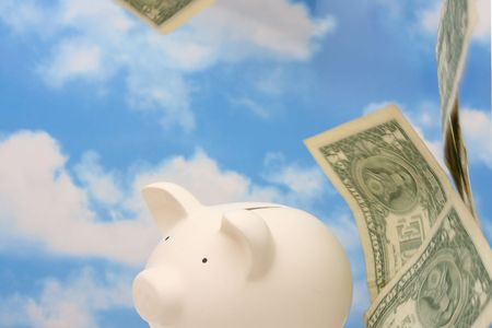 Falling money with piggy bank, sky background Stock Photo - 1950671
