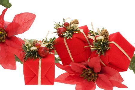 Christmas present and poinsettia border photo