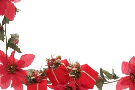 Poinsettia and red Christmas presents border isolated over white background photo