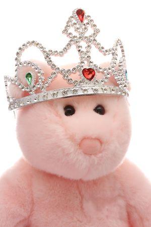royal wedding: Pink teddy bear wearing tiara