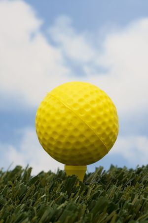 animal practice: Golf ball on tee with sky background