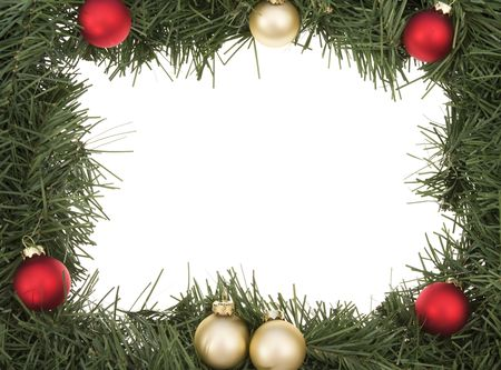 Wreath border with Christmas balls Stock Photo - 2021470