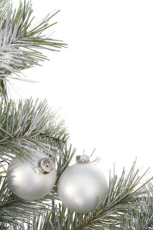 branche sapin noel: Branche d'arbre de No�l avec des boules de No�l Banque d'images