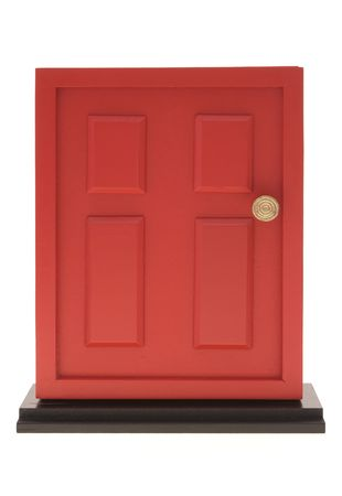 stoop: Red door on white background