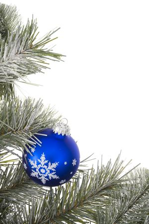 Wreath with blue glass ball photo