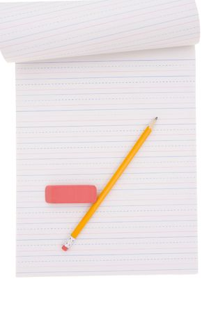 Blank notepad with pencil and eraser