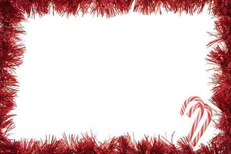 Red garland frame with candy canes photo