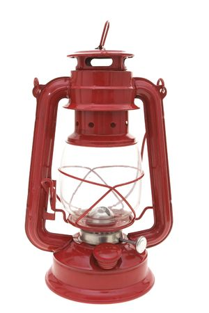 Red oil lamp isolated on white background photo