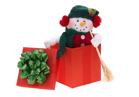 Snowman in gift box isolated on white Stock Photo - 2079063