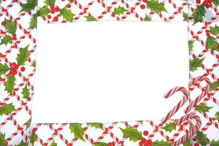 candy cane: Candy cane, holly berries and leaf border