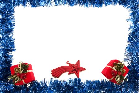 Blue garland frame with gifts and star isolated on white photo