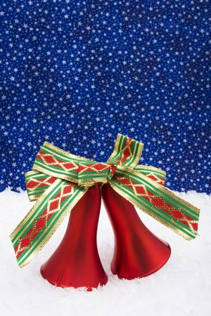 Christmas bells on night sky background with copy space photo