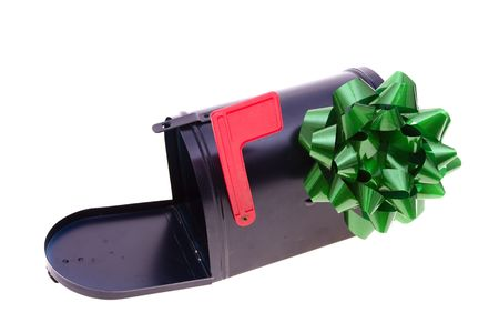 Black mailbox with green bow isolated on white Stock Photo - 2192206
