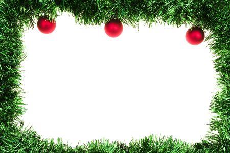 Green garland frame with red ornaments isolated on white