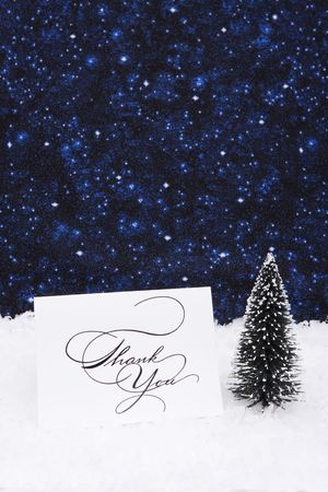 Thank you card on snow with tree with copy space photo