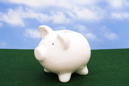 Piggy bank on grass with sky background with copy space Stock Photo - 2463627