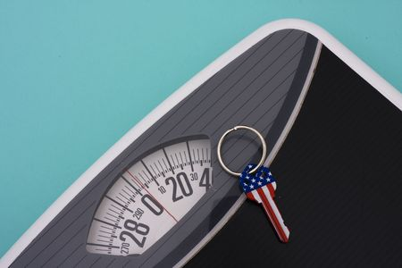 American flag key on weight scale