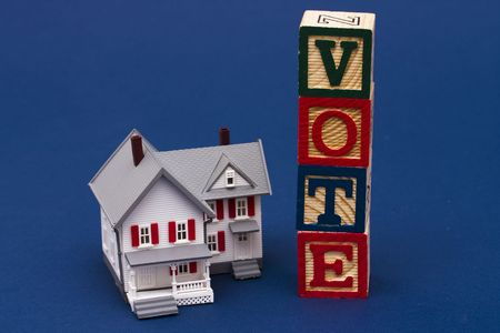 House with alphabet block spelling vote Stock Photo - 2526017