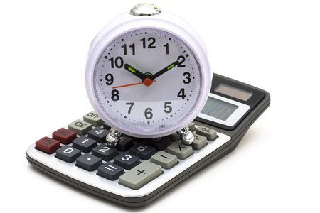 figuring: Clock and calculator isolated on a white background