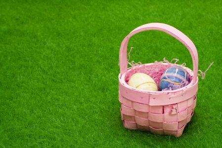 Easter basket with eggs with copy space Stock Photo - 2667318
