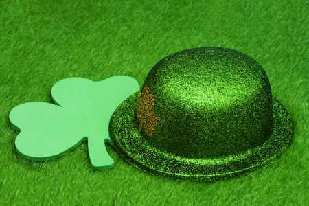 Green hat with shamrock on grass Stock Photo - 2731943
