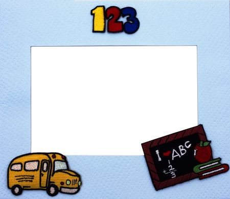 Frame with School bus and books with white copy space photo