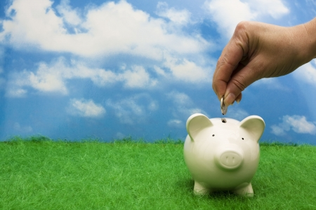 savings: Coin bank sitting on grass with hand putting in a coin Stock Photo