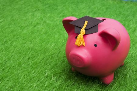 college fund savings: Piggy bank with graduation cap on grass with copy space