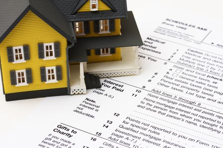 deduct: House on a US tax form schedule A Stock Photo