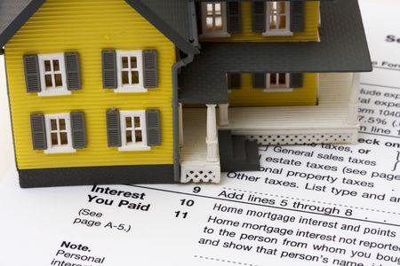 deduct: House with money and tax paper � us schedule A form