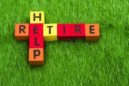 Alphabet blocks spelling retire and help Stock Photo - 3058399
