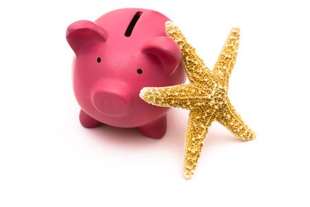 Coin bank with starfish on a white background
