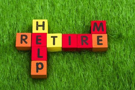 prendre sa retraite: Alphabet blocs orthographe retraite, d'aide, et moi