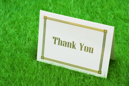 Thank you card on grass with copy space Stock Photo - 3105841