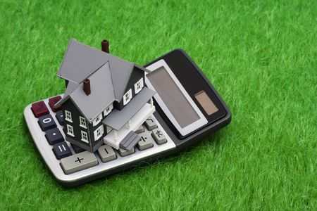 House sitting on grass with a calculator Stock Photo
