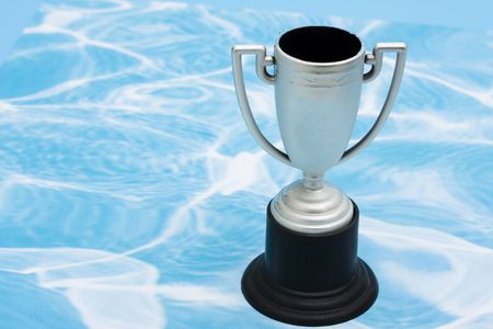 silver medal: Trophy on blue and white swirl background Stock Photo