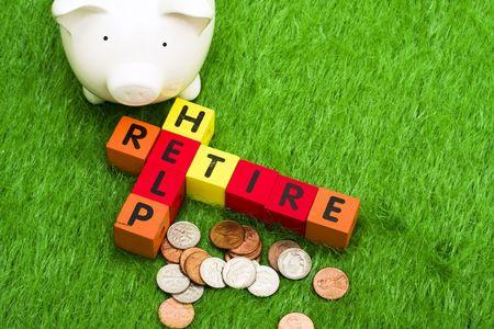 retire: Alphabet blocks spelling retire and help