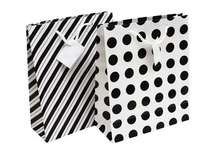 Black and white striped and polka dot paper gift bag photo